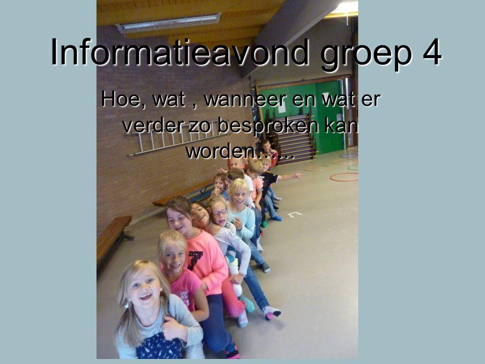 Informatieavond groep 4 Hoe, wat, wanneer en wat er verder zo besproken kan worden…...