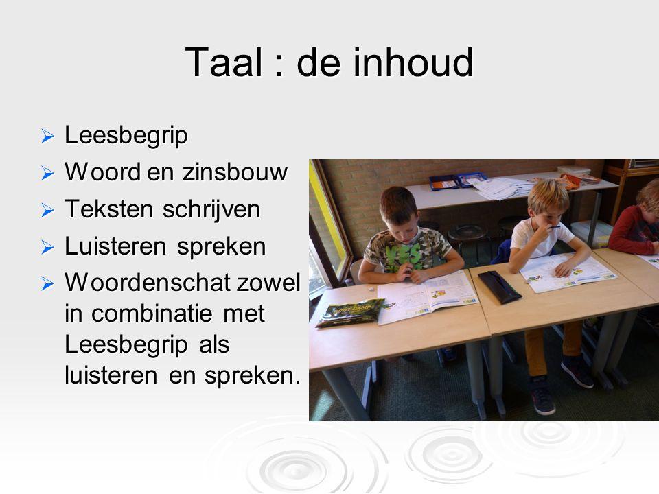 Taal : de inhoud  Leesbegrip  Woord en zinsbouw  Teksten schrijven  Luisteren spreken  Woordenschat zowel in combinatie met Leesbegrip als luisteren en spreken.