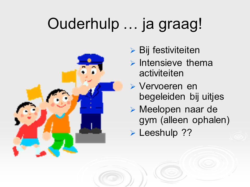 Ouderhulp … ja graag!  Bij festiviteiten  Intensieve thema activiteiten  Vervoeren en begeleiden bij uitjes  Meelopen naar de gym (alleen ophalen)