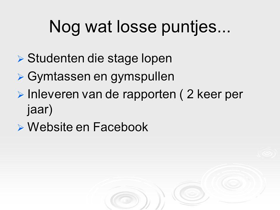 Nog wat losse puntjes...  Studenten die stage lopen  Gymtassen en gymspullen  Inleveren van de rapporten ( 2 keer per jaar)  Website en Facebook