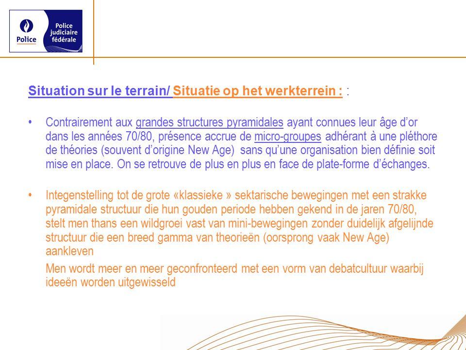 Situation sur le terrain/ Situatie op het werkterrein : : Contrairement aux grandes structures pyramidales ayant connues leur âge d'or dans les années