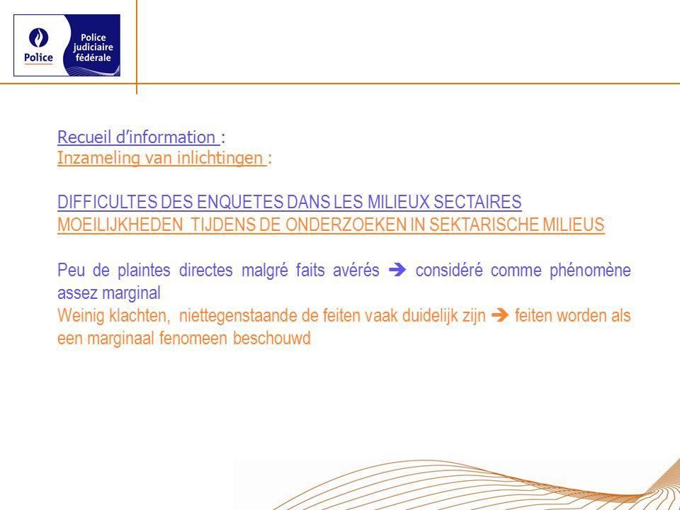 Recueil d'information : Inzameling van inlichtingen : DIFFICULTES DES ENQUETES DANS LES MILIEUX SECTAIRES MOEILIJKHEDEN TIJDENS DE ONDERZOEKEN IN SEKT