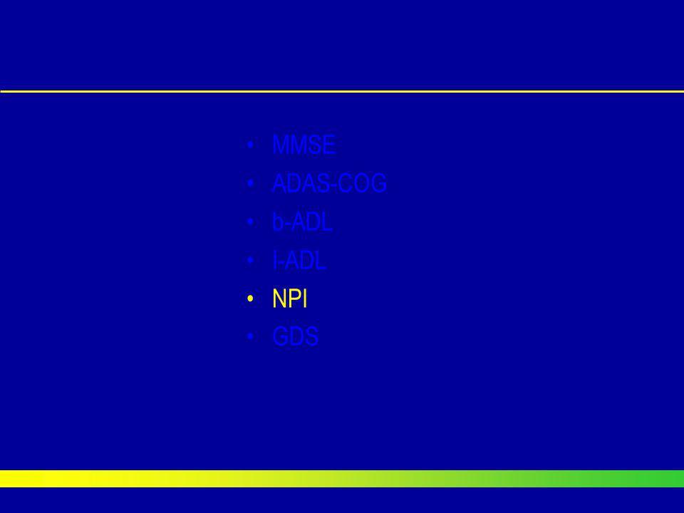 MMSE ADAS-COG b-ADL I-ADL NPI GDS