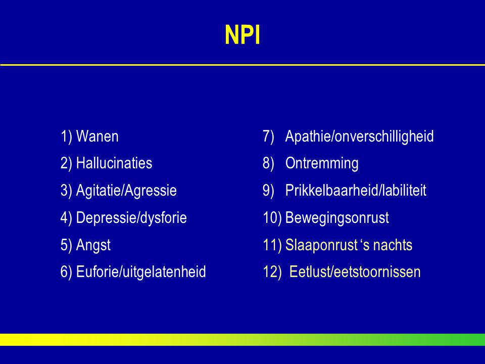 NPI 1) Wanen7) Apathie/onverschilligheid 2) Hallucinaties8) Ontremming 3) Agitatie/Agressie9) Prikkelbaarheid/labiliteit 4) Depressie/dysforie10) Bewe