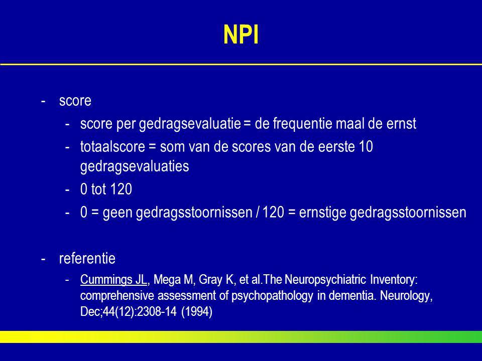 NPI -score -score per gedragsevaluatie = de frequentie maal de ernst -totaalscore = som van de scores van de eerste 10 gedragsevaluaties -0 tot 120 -0