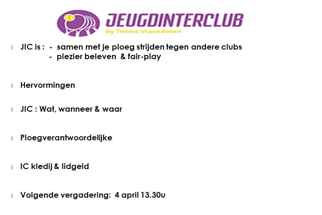 l JIC is : - samen met je ploeg strijden tegen andere clubs - plezier beleven & fair-play l Hervormingen l JIC : Wat, wanneer & waar l Ploegverantwoor