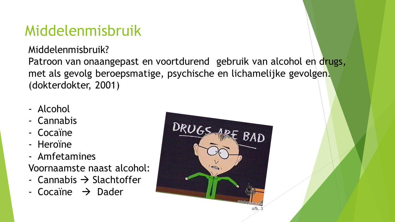 Middelenmisbruik Middelenmisbruik? Patroon van onaangepast en voortdurend gebruik van alcohol en drugs, met als gevolg beroepsmatige, psychische en li