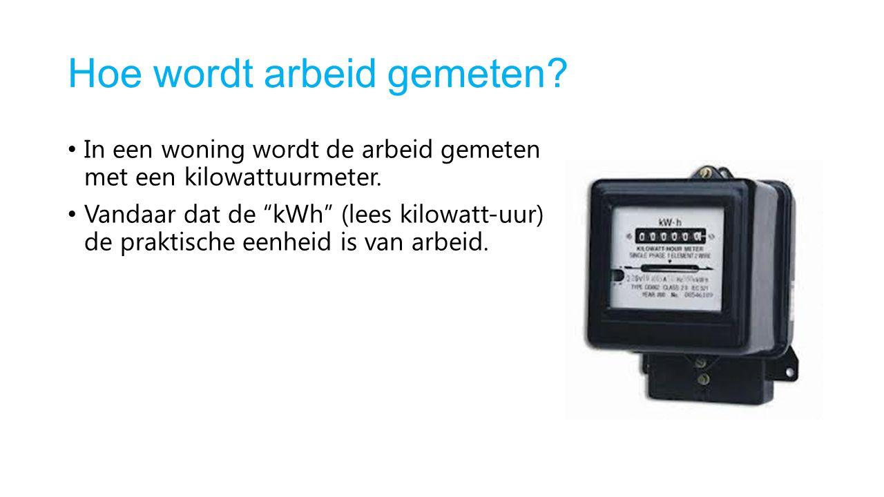 """Hoe wordt arbeid gemeten? In een woning wordt de arbeid gemeten met een kilowattuurmeter. Vandaar dat de """"kWh"""" (lees kilowatt-uur) de praktische eenhe"""