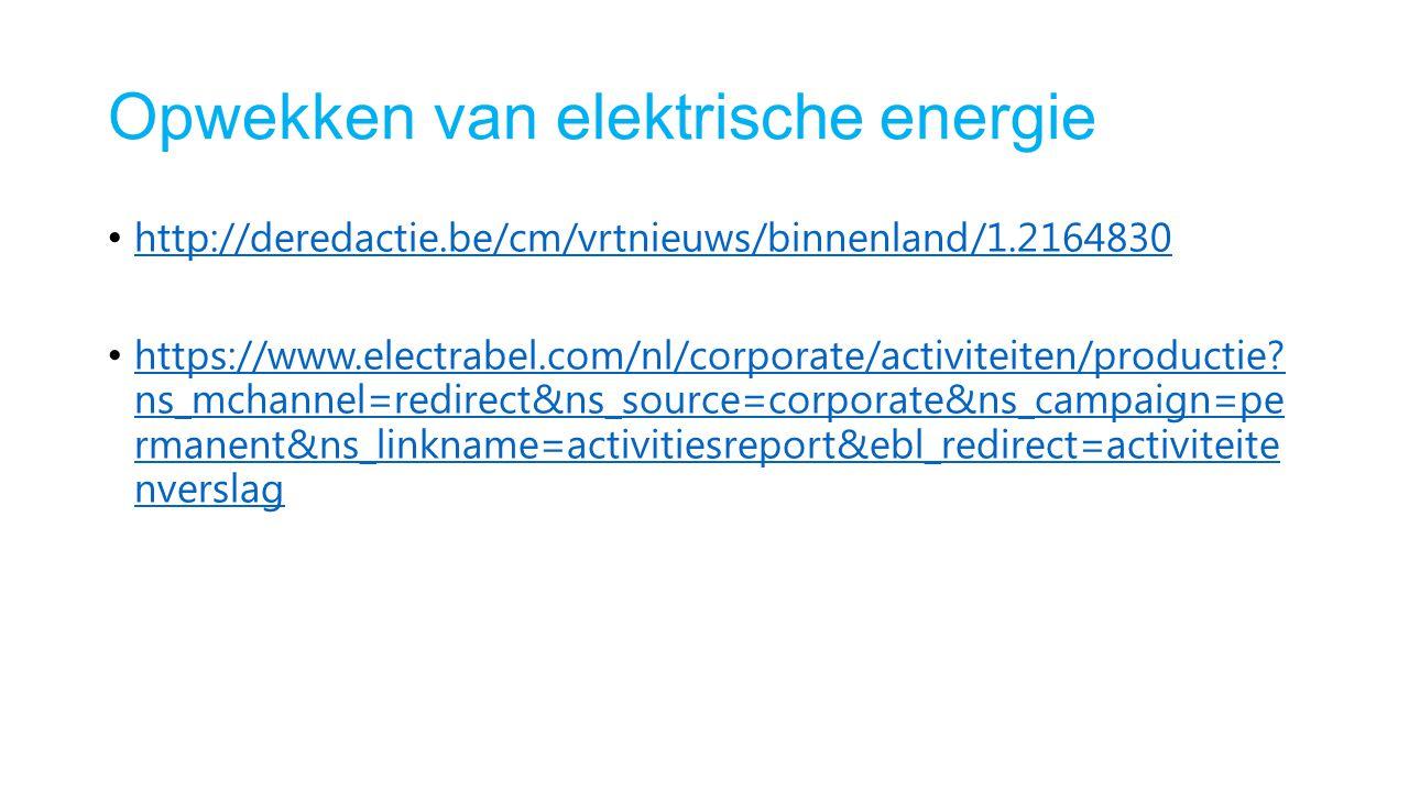 Opwekken van elektrische energie http://deredactie.be/cm/vrtnieuws/binnenland/1.2164830 https://www.electrabel.com/nl/corporate/activiteiten/productie