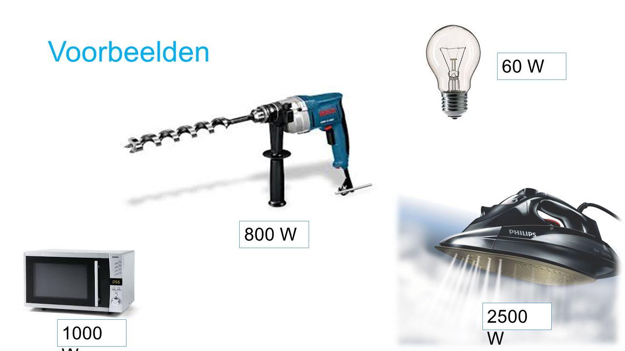 Voorbeelden 1000 W 800 W 60 W 2500 W
