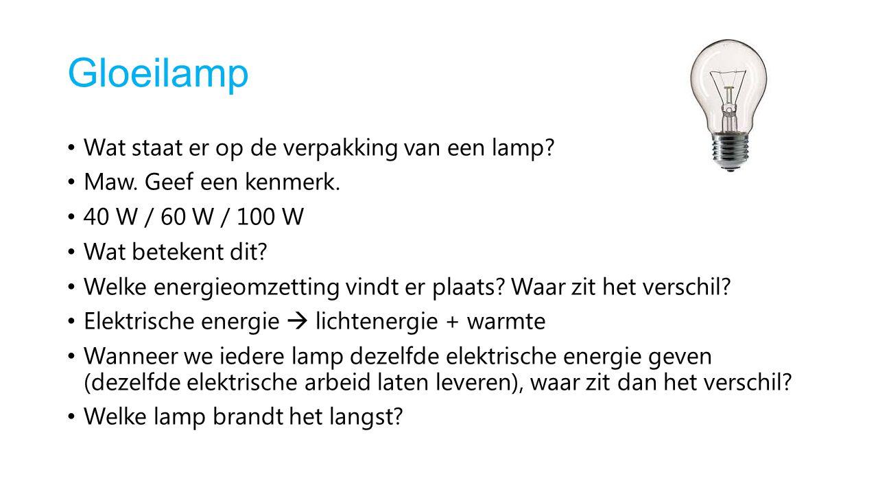 Gloeilamp Wat staat er op de verpakking van een lamp? Maw. Geef een kenmerk. 40 W / 60 W / 100 W Wat betekent dit? Welke energieomzetting vindt er pla