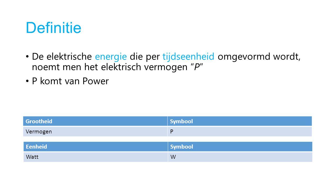 """Definitie De elektrische energie die per tijdseenheid omgevormd wordt, noemt men het elektrisch vermogen """"P"""" P komt van Power GrootheidSymbool Vermoge"""