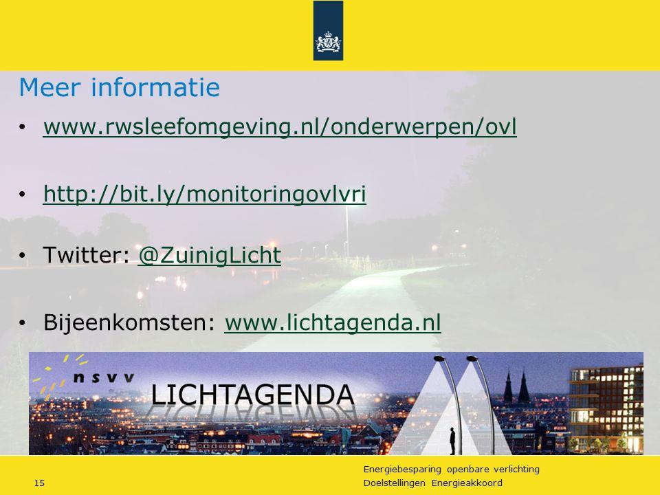 Energiebesparing openbare verlichting 15Doelstellingen Energieakkoord Meer informatie www.rwsleefomgeving.nl/onderwerpen/ovl http://bit.ly/monitoringo