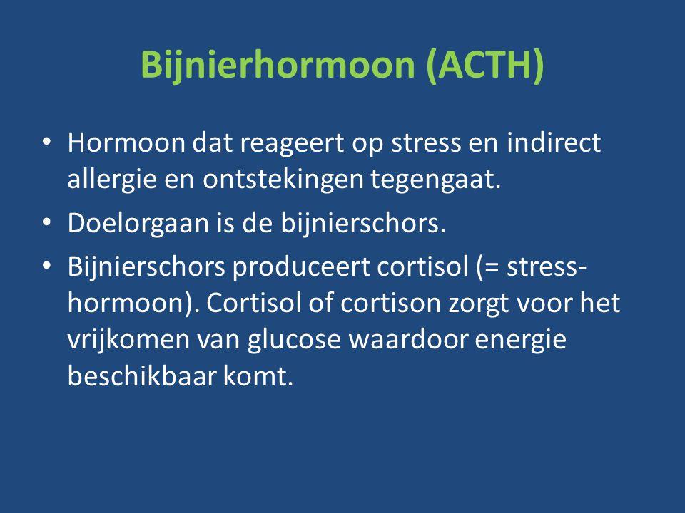 Bijnierhormoon (ACTH) Hormoon dat reageert op stress en indirect allergie en ontstekingen tegengaat.