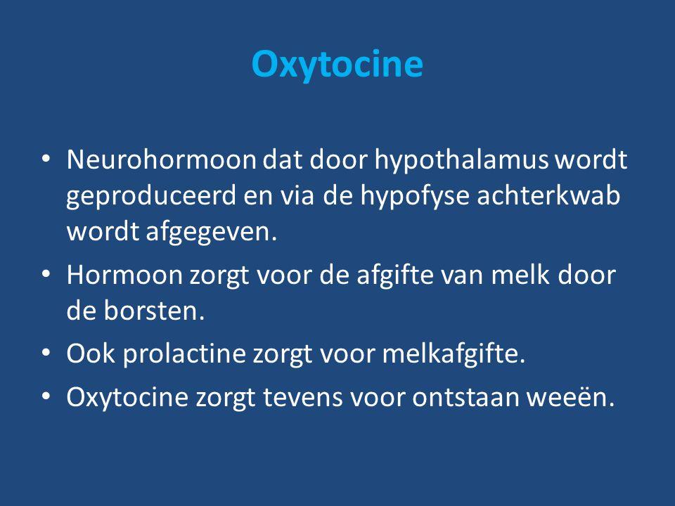 Oxytocine Neurohormoon dat door hypothalamus wordt geproduceerd en via de hypofyse achterkwab wordt afgegeven.