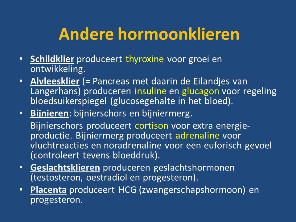 Andere hormoonklieren Schildklier produceert thyroxine voor groei en ontwikkeling.