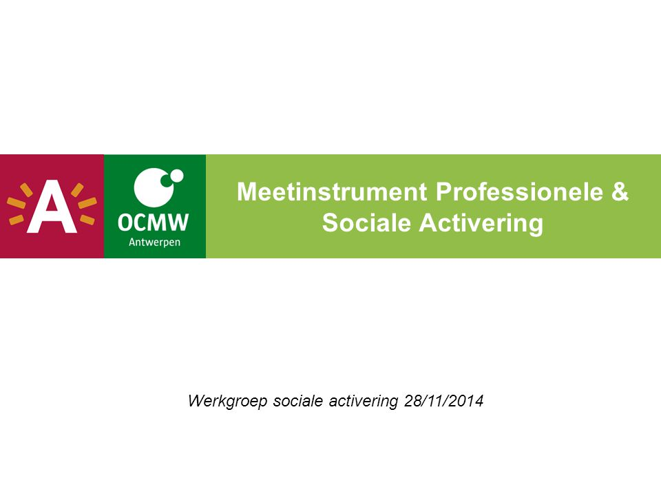 Meetinstrument Professionele & Sociale Activering Werkgroep sociale activering 28/11/2014