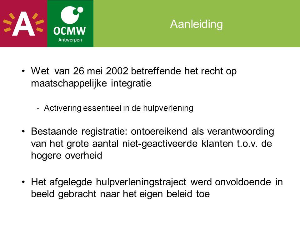 Aanleiding Wet van 26 mei 2002 betreffende het recht op maatschappelijke integratie -Activering essentieel in de hulpverlening Bestaande registratie: ontoereikend als verantwoording van het grote aantal niet-geactiveerde klanten t.o.v.