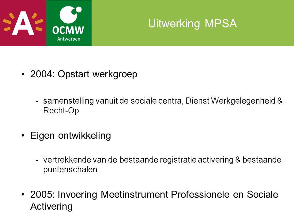 Uitwerking MPSA 2004: Opstart werkgroep -samenstelling vanuit de sociale centra, Dienst Werkgelegenheid & Recht-Op Eigen ontwikkeling -vertrekkende van de bestaande registratie activering & bestaande puntenschalen 2005: Invoering Meetinstrument Professionele en Sociale Activering