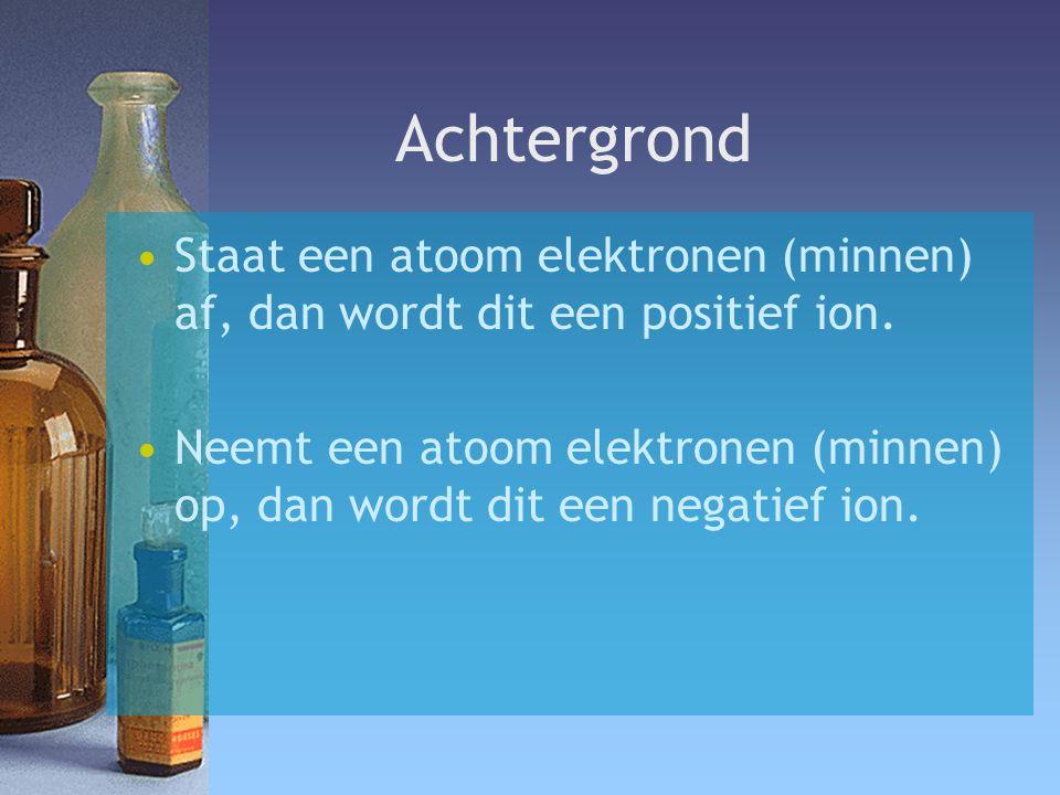 Achtergrond Staat een atoom elektronen (minnen) af, dan wordt dit een positief ion. Neemt een atoom elektronen (minnen) op, dan wordt dit een negatief