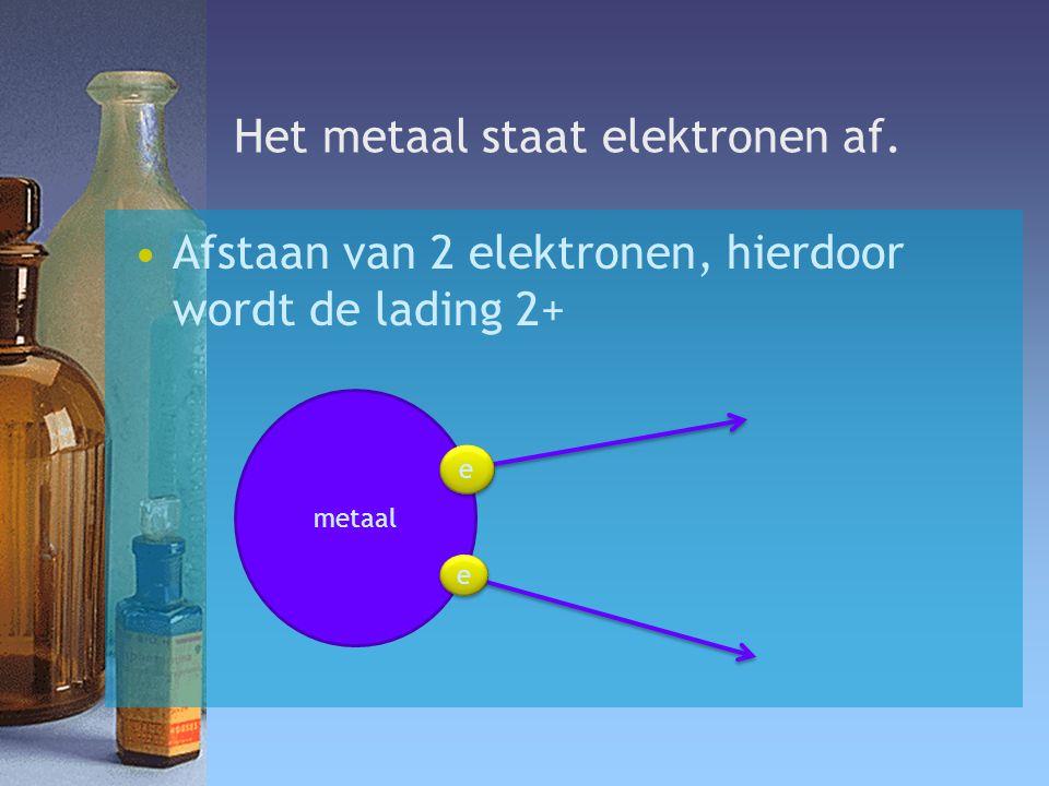 Het metaal staat elektronen af. Afstaan van 2 elektronen, hierdoor wordt de lading 2+ metaal e e e e