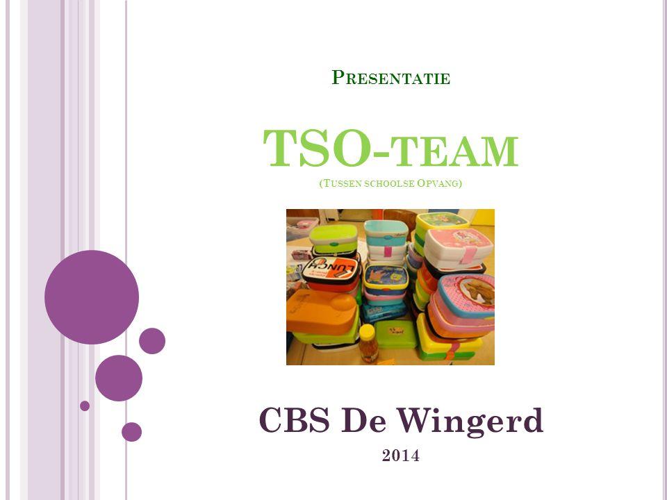 P RESENTATIE TSO- TEAM (T USSEN SCHOOLSE O PVANG ) CBS De Wingerd 2014