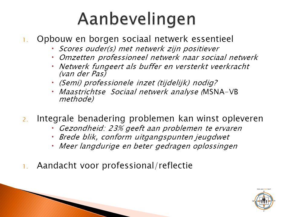 1. Opbouw en borgen sociaal netwerk essentieel  Scores ouder(s) met netwerk zijn positiever  Omzetten professioneel netwerk naar sociaal netwerk  N