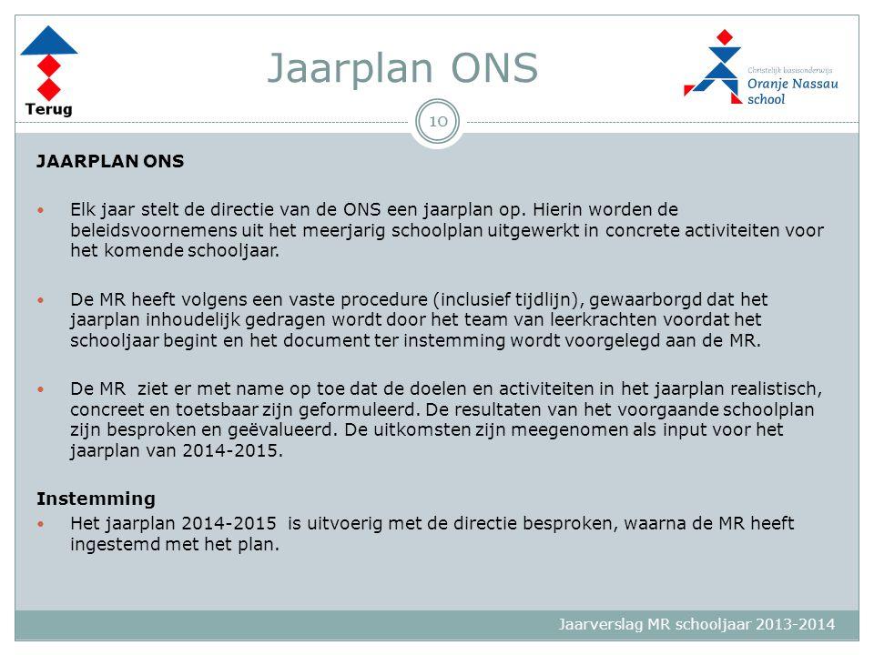 Jaarverslag MR schooljaar 2013-2014 Jaarplan ONS JAARPLAN ONS Elk jaar stelt de directie van de ONS een jaarplan op. Hierin worden de beleidsvoornemen