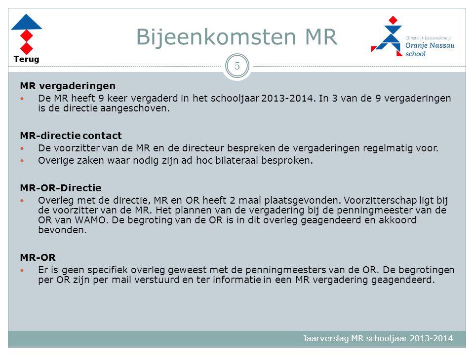 Jaarverslag MR schooljaar 2013-2014 Bijeenkomsten MR MR vergaderingen De MR heeft 9 keer vergaderd in het schooljaar 2013-2014. In 3 van de 9 vergader