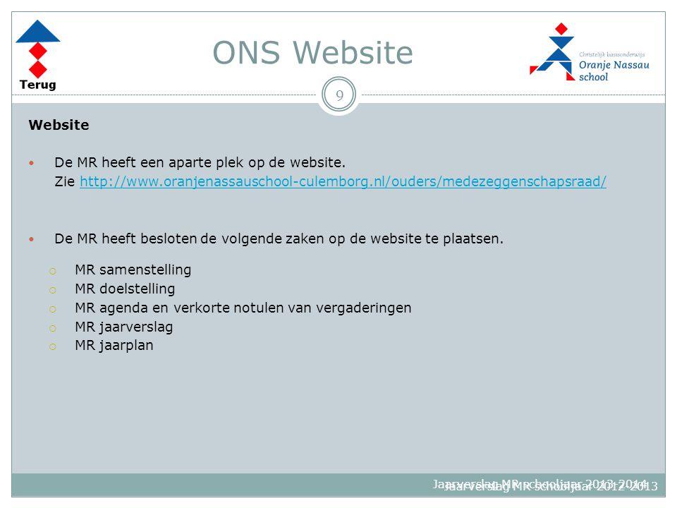 Jaarverslag MR schooljaar 2013-2014 ONS Website Website De MR heeft een aparte plek op de website. Zie http://www.oranjenassauschool-culemborg.nl/oude