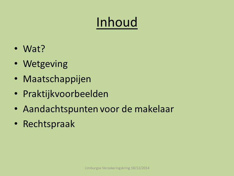 Inhoud Wat? Wetgeving Maatschappijen Praktijkvoorbeelden Aandachtspunten voor de makelaar Rechtspraak Limburgse Verzekeringskring 18/12/2014