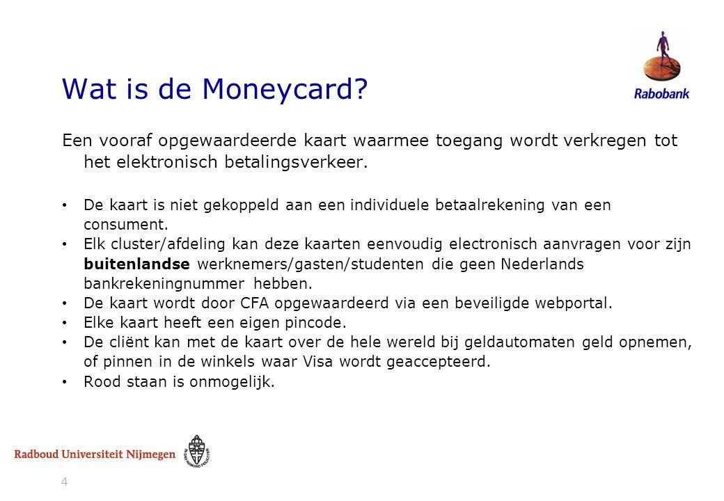 Wat is de Moneycard? Een vooraf opgewaardeerde kaart waarmee toegang wordt verkregen tot het elektronisch betalingsverkeer. De kaart is niet gekoppeld