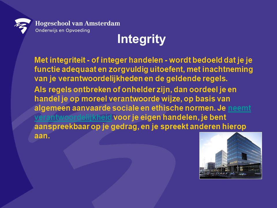 Integrity Met integriteit - of integer handelen - wordt bedoeld dat je je functie adequaat en zorgvuldig uitoefent, met inachtneming van je verantwoordelijkheden en de geldende regels.