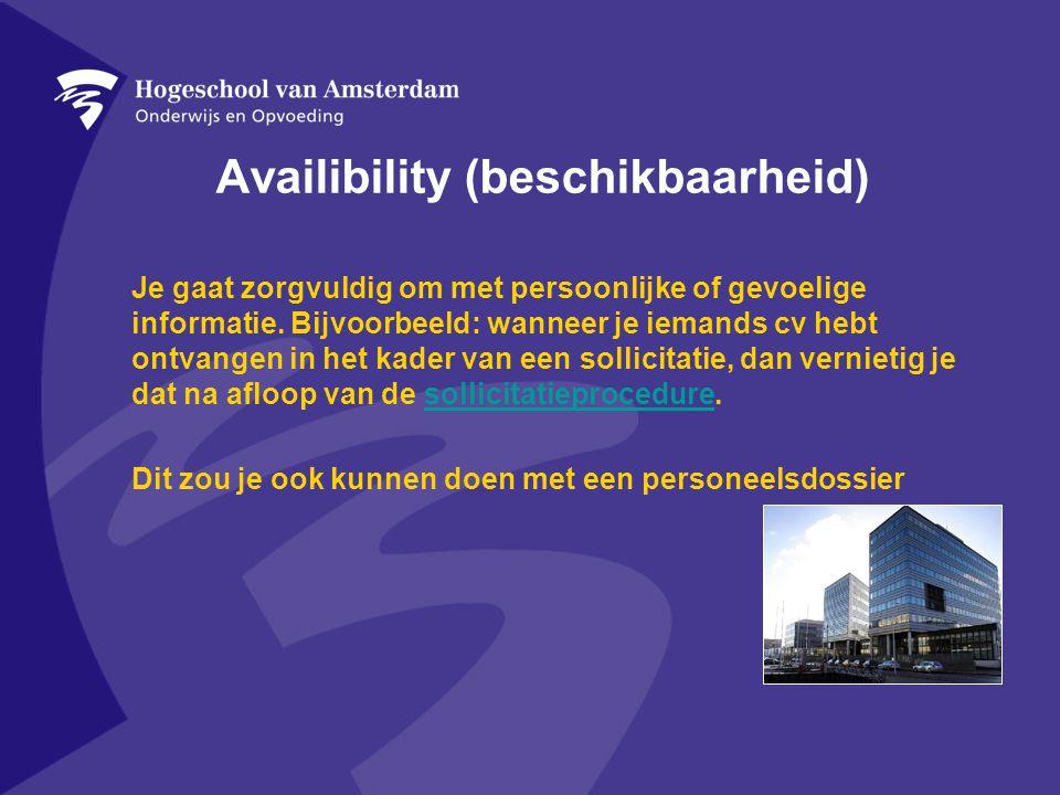 Availibility (beschikbaarheid) Je gaat zorgvuldig om met persoonlijke of gevoelige informatie.