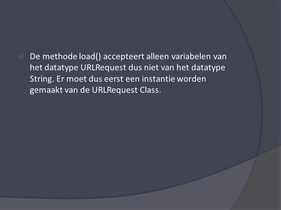 var verzoek:URLRequest = new URLRequest(); Alleen de eigenschap url van de URLRequest Class is van belang.
