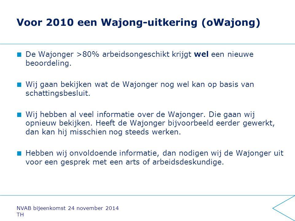 Voor 2010 een Wajong-uitkering (oWajong) De Wajonger >80% arbeidsongeschikt krijgt wel een nieuwe beoordeling. Wij gaan bekijken wat de Wajonger nog w