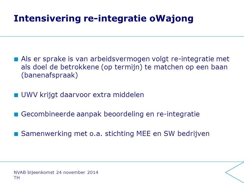 Intensivering re-integratie oWajong Als er sprake is van arbeidsvermogen volgt re-integratie met als doel de betrokkene (op termijn) te matchen op een
