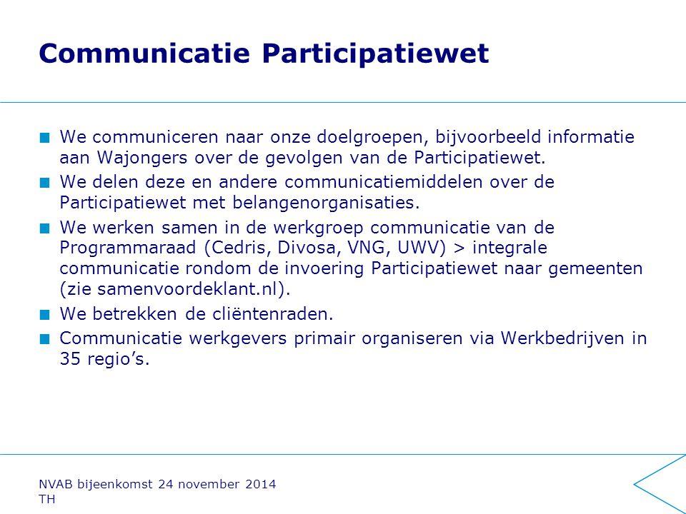 Communicatie Participatiewet We communiceren naar onze doelgroepen, bijvoorbeeld informatie aan Wajongers over de gevolgen van de Participatiewet. We