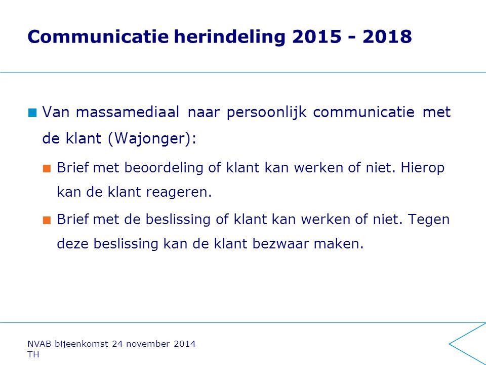 Communicatie herindeling 2015 - 2018 Van massamediaal naar persoonlijk communicatie met de klant (Wajonger): Brief met beoordeling of klant kan werken
