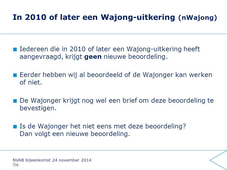 In 2010 of later een Wajong-uitkering (nWajong) Iedereen die in 2010 of later een Wajong-uitkering heeft aangevraagd, krijgt geen nieuwe beoordeling.
