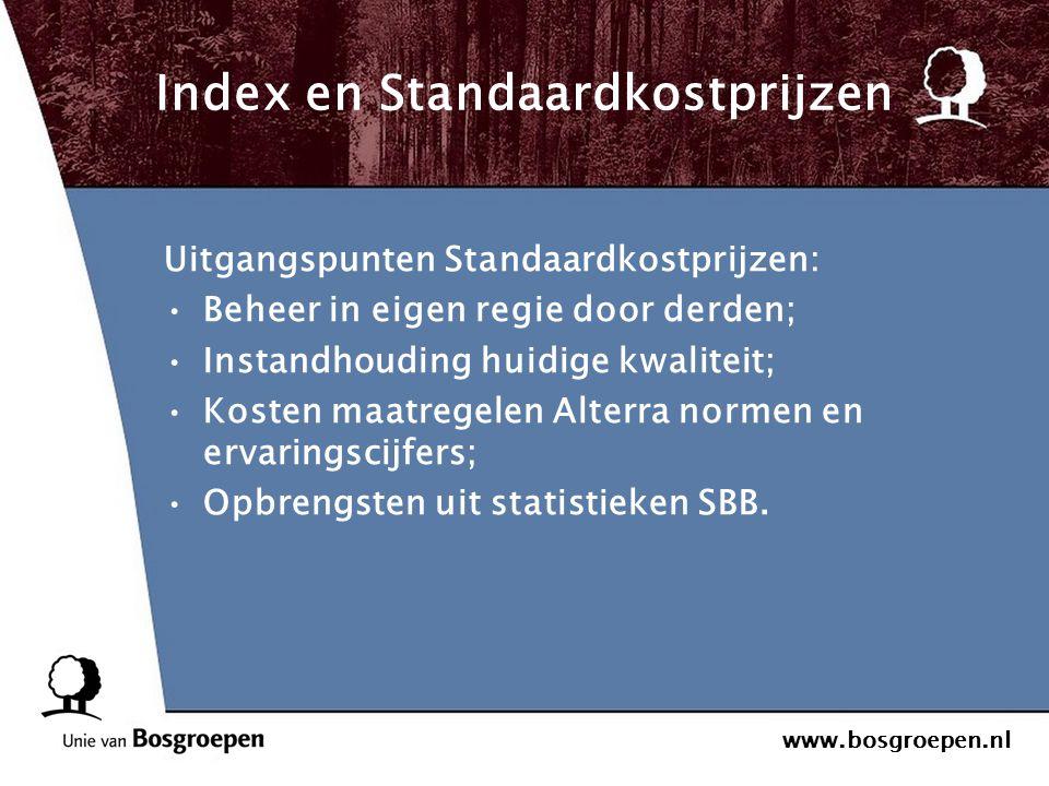 www.bosgroepen.nl Index en Standaardkostprijzen Uitgangspunten Standaardkostprijzen: Beheer in eigen regie door derden; Instandhouding huidige kwalite
