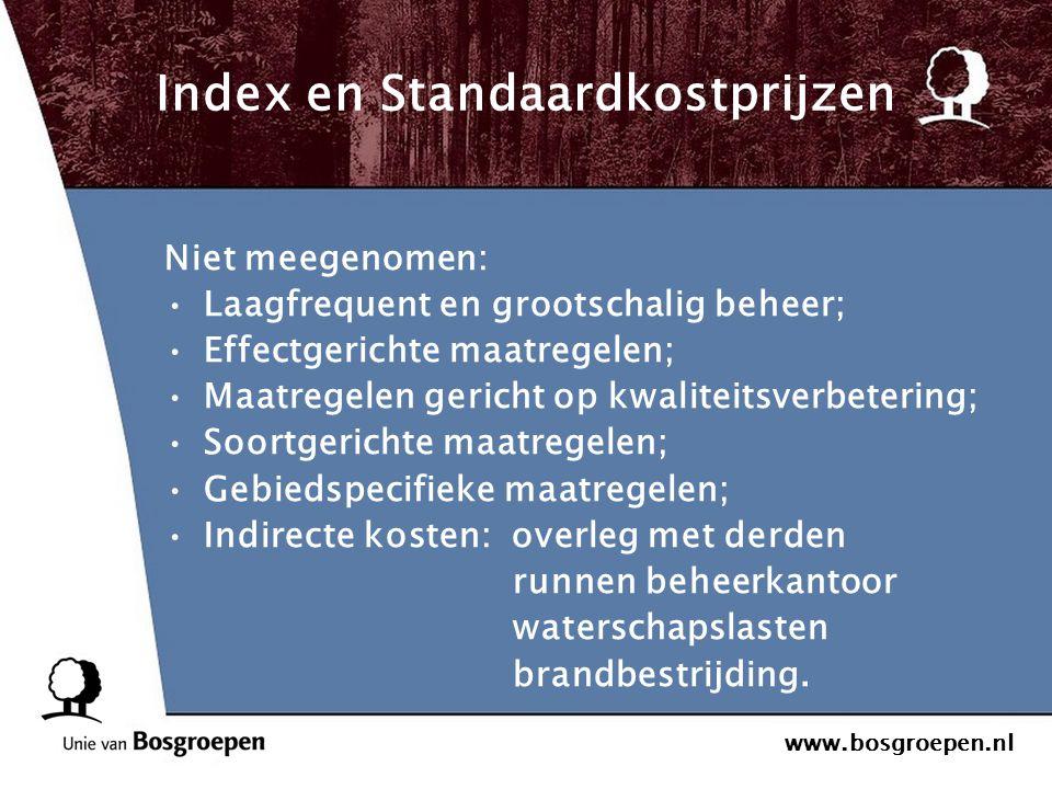 www.bosgroepen.nl Index en Standaardkostprijzen Niet meegenomen: Laagfrequent en grootschalig beheer; Effectgerichte maatregelen; Maatregelen gericht