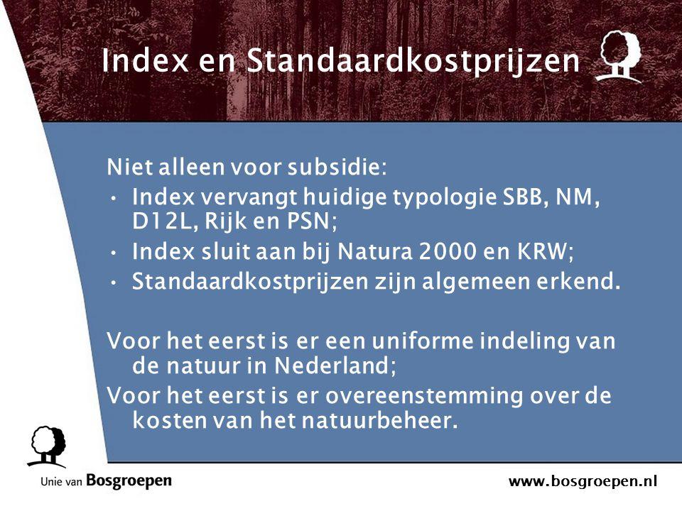 www.bosgroepen.nl Index en Standaardkostprijzen Niet alleen voor subsidie: Index vervangt huidige typologie SBB, NM, D12L, Rijk en PSN; Index sluit aa