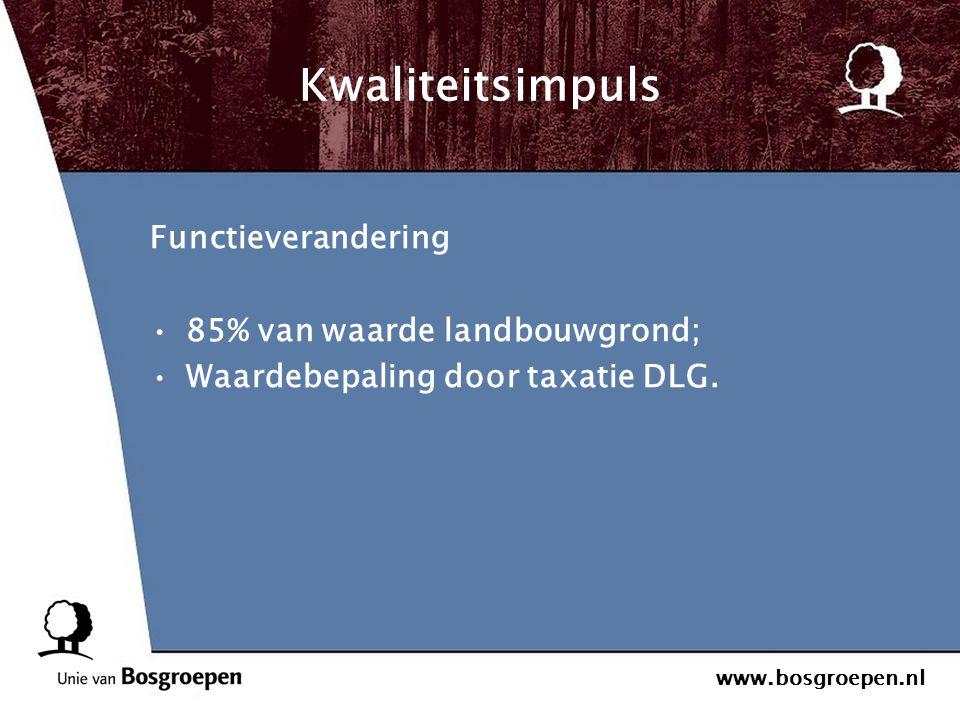 www.bosgroepen.nl Kwaliteitsimpuls Functieverandering 85% van waarde landbouwgrond; Waardebepaling door taxatie DLG.