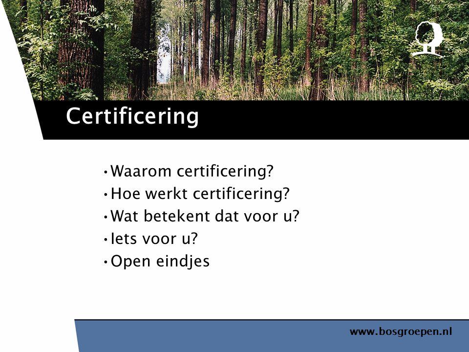 www.bosgroepen.nl Waarom certificering? Hoe werkt certificering? Wat betekent dat voor u? Iets voor u? Open eindjes Certificering
