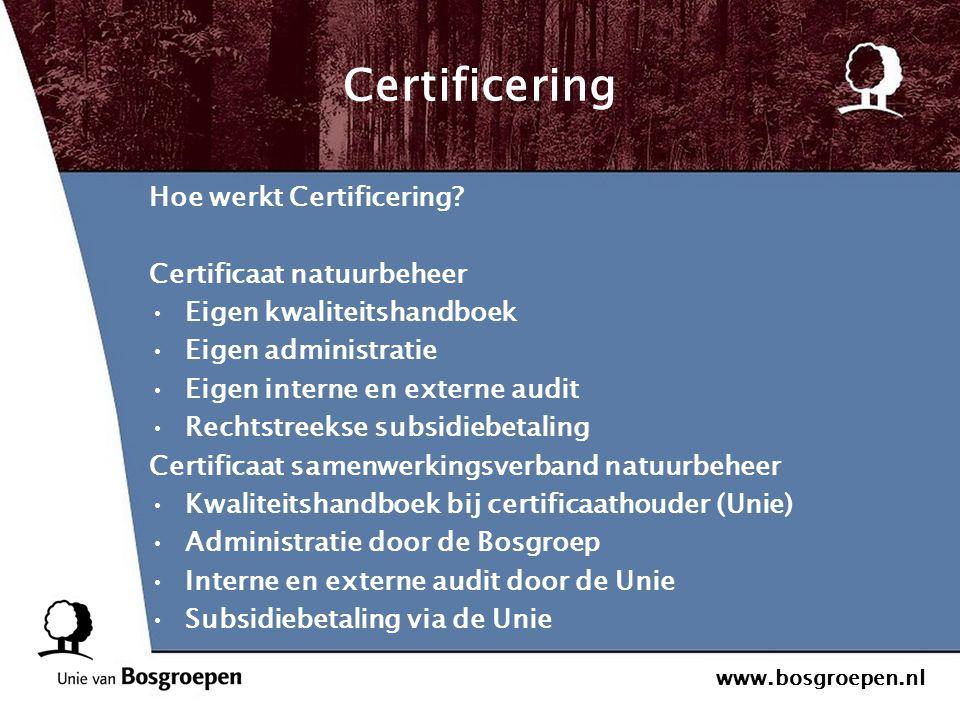www.bosgroepen.nl Certificering Hoe werkt Certificering? Certificaat natuurbeheer Eigen kwaliteitshandboek Eigen administratie Eigen interne en extern