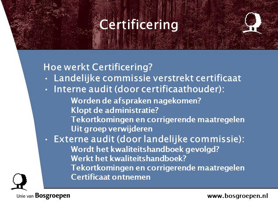 www.bosgroepen.nl Certificering Hoe werkt Certificering? Landelijke commissie verstrekt certificaat Interne audit (door certificaathouder): Worden de