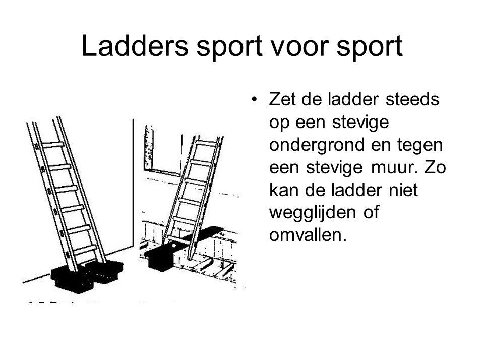 Ladders sport voor sport Zet de ladder steeds op een stevige ondergrond en tegen een stevige muur. Zo kan de ladder niet wegglijden of omvallen.