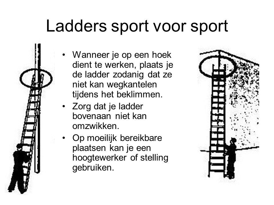 Ladders sport voor sport Wanneer je op een hoek dient te werken, plaats je de ladder zodanig dat ze niet kan wegkantelen tijdens het beklimmen. Zorg d