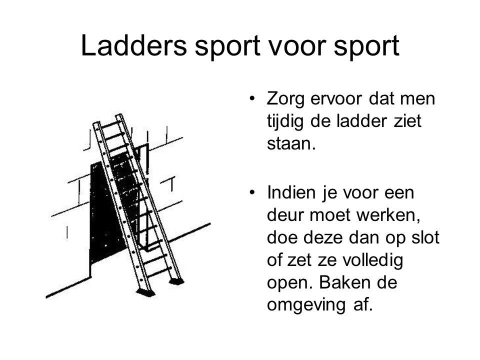 Ladders sport voor sport Zorg ervoor dat men tijdig de ladder ziet staan. Indien je voor een deur moet werken, doe deze dan op slot of zet ze volledig